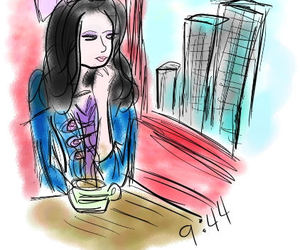 city, coffee, and drawing image