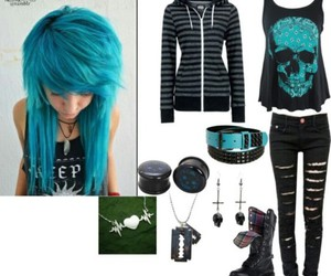 emo, blue, and style image