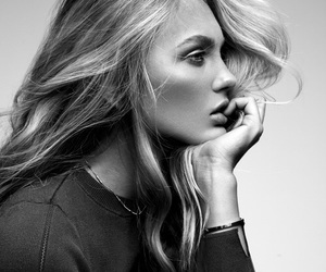 model, girl, and black and white image