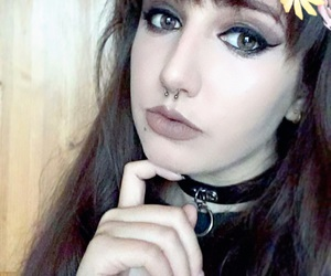 choker, goth, and makeup image