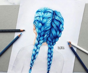 hair, art, and blue image