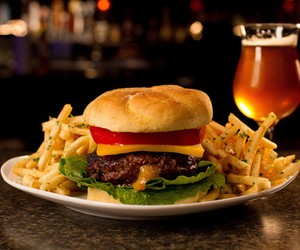 burger, delicious, and drink image