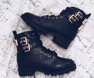 black boots, winter fashion, and boots image