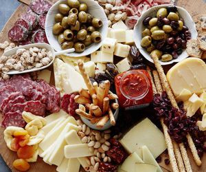 food, cheese, and olive image