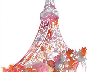 art, tower, and watercolor image