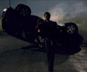 car crash, damon, and elena image