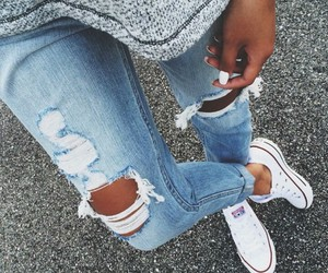 all star, jean, and white image