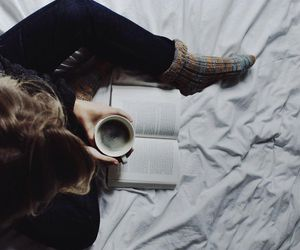 bed, reading, and coffee image