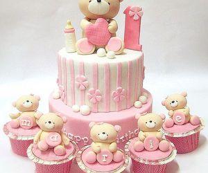 cute, bear, and cake image