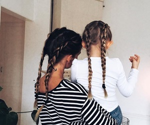 braid, hair, and family image