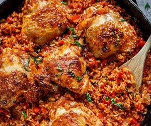 Chicken, rice, and food image