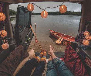 travel, couple, and lake image