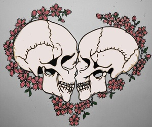 love, skull, and flowers image