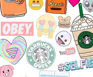 emoji, starbucks, and obey image
