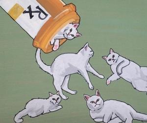 cat, pills, and art image