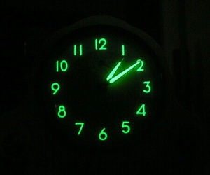 clock, green, and neon image