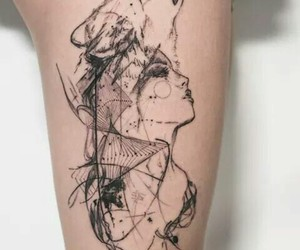 tattoo, wolf, and woman image
