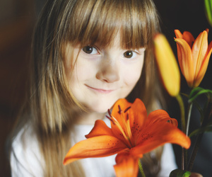child, flower, and girl image