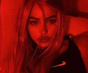 red, red glow, and tumblr girl image