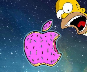 wallpaper, homer, and apple image