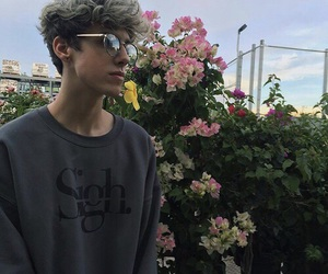 boy, tumblr, and flowers image