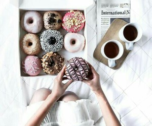food, donuts, and coffee image