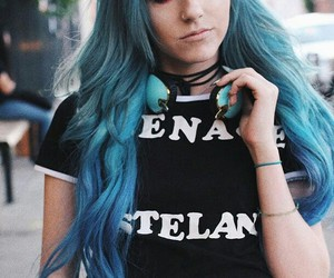 blue hair, color hair, and you are pretty image