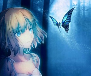 anime, blue, and butterfly image