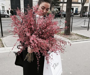 flowers, girl, and dior image