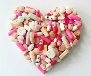 heart, heart shape, and pink pills image
