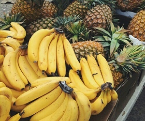fruit, banana, and pineapple image