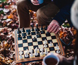 chess, autumn, and coffee image