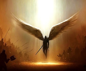angel, warrior, and wings image