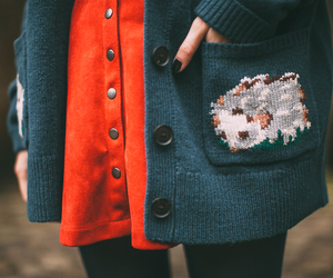 cardigan, cath kidston, and skirt image
