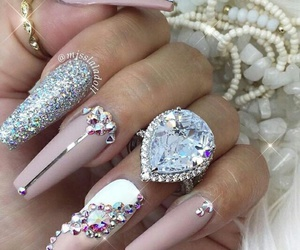 longnails, silver, and sparkling image