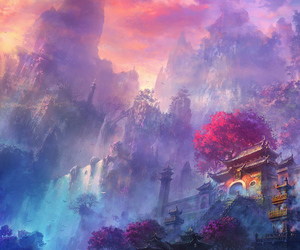 blue, purple, and Temple image