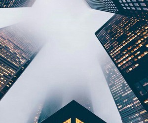 city, buildings, and fog image