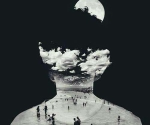 moon, people, and black image