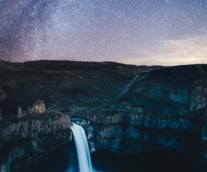 stars, beautiful, and waterfall image