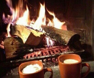 fire, coffee, and autumn image