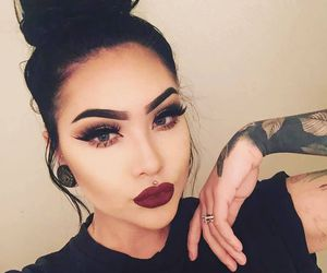 makeup, tattoo, and black image