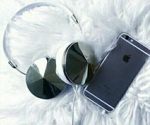 iphone, apple, and headphones image