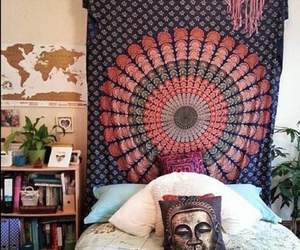 bedding, bedroom, and boho image