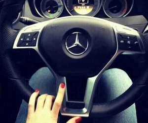 car, mercedes, and girl image