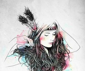 art, girl, and watercolor image