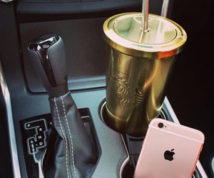 iphone, car, and starbucks image