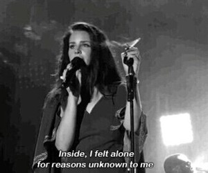lana del rey, black and white, and alone image