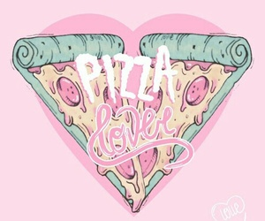 pizza, love, and pink image