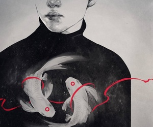 art, black, and fish image