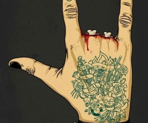 rock, hand, and tattoo image